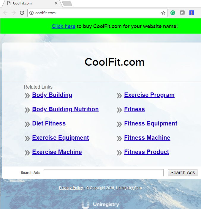 coolfit.com landing page on Uniregistry's pay per click sites