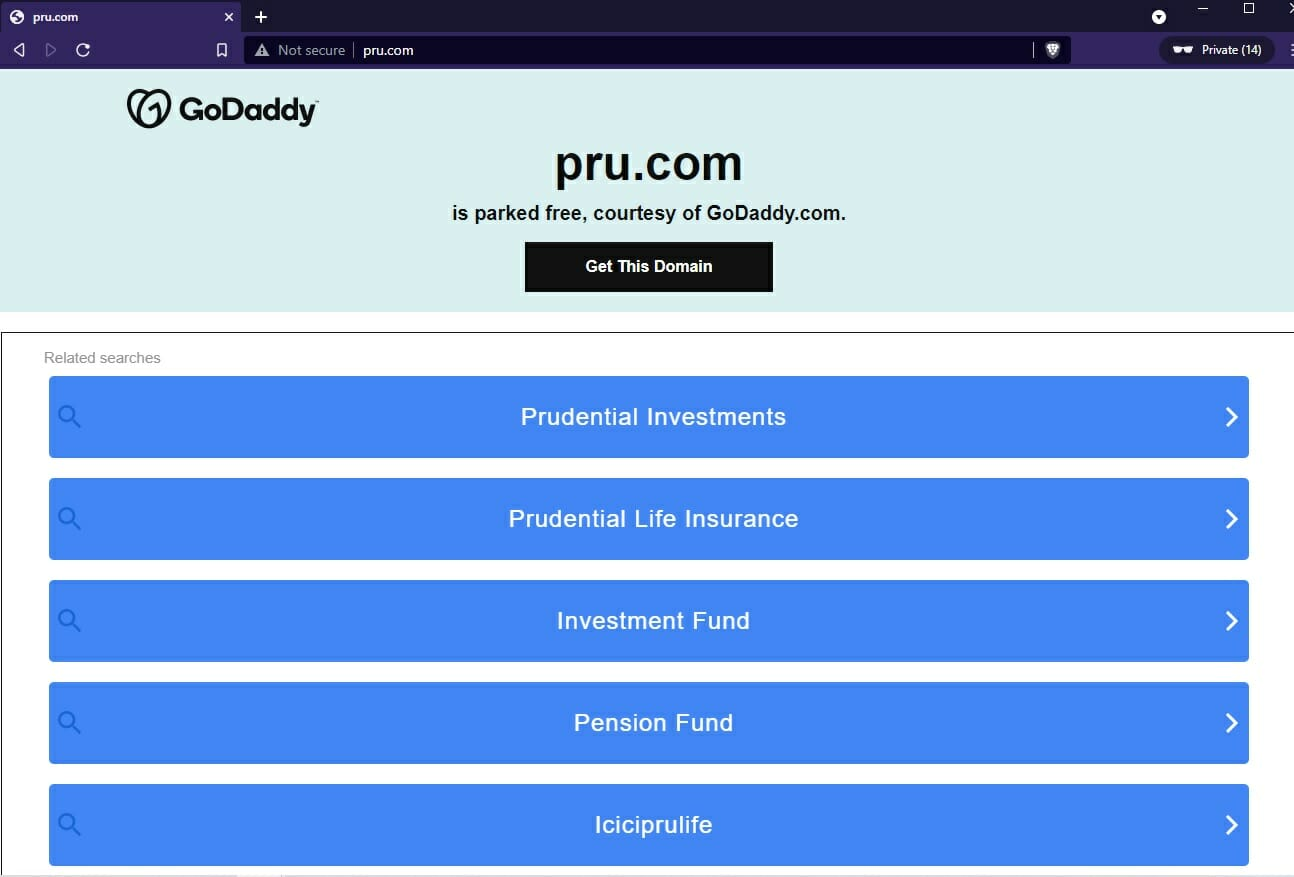 GoDaddy landing page for pru.com with Prudential ads
